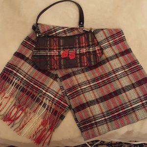 Coach Plaid Handbag, Unbranded Scarf & Red earring